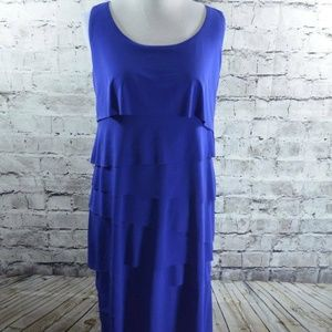 Chicos Electric Blue Layer Tiered Sleeveless Dress
